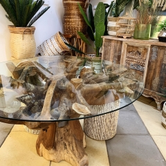 Glass-and-teak-table