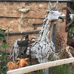 Teak Chip Horse Statue
